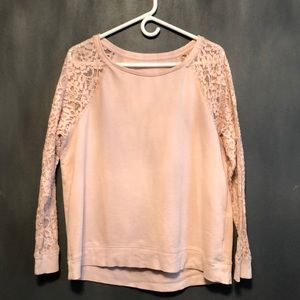Apt 9 | Light Pink Sweater Lace Sleeves Size L